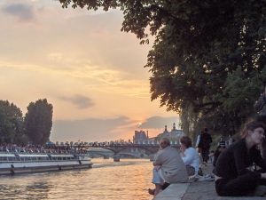 Sunset on the Seine from Pont Neuf, near where I studied French in Paris