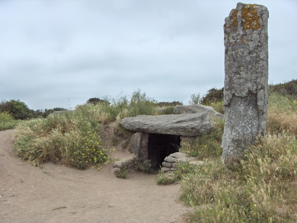 A dolmen and a menhir (megaliths)