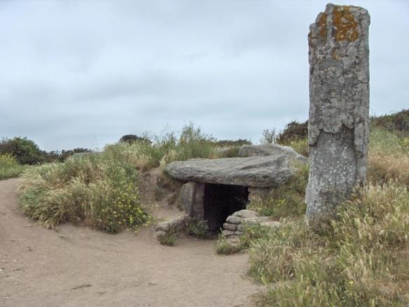 A dolmen and a menhir (megaliths)