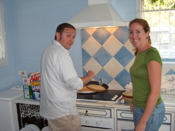 My hubby and me, making crepes