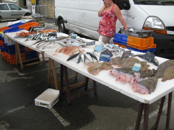 Catch of the day at the outdoor market