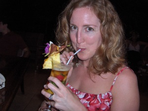 Me, with a serious frou frou drink on our honeymoon