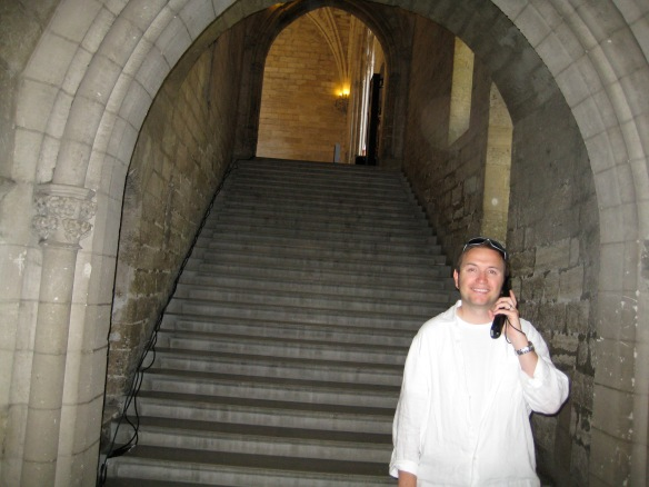 My hubby, at the Grand Escalier D'honneur in the Palace