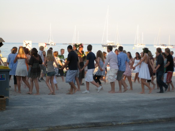 Swedish students celebrating the summer solstice