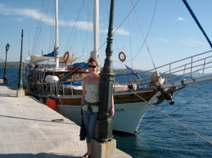 Me, with our boat, the Anatolie
