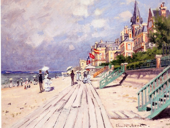 The Beach at Trouville, 1870 by Claude Monet