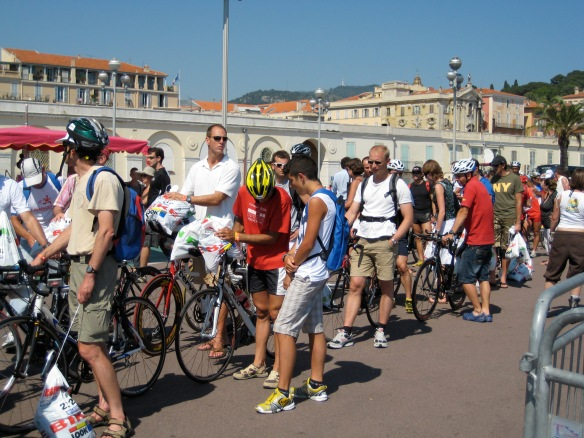 Checking in at the Ironman in Nice, France