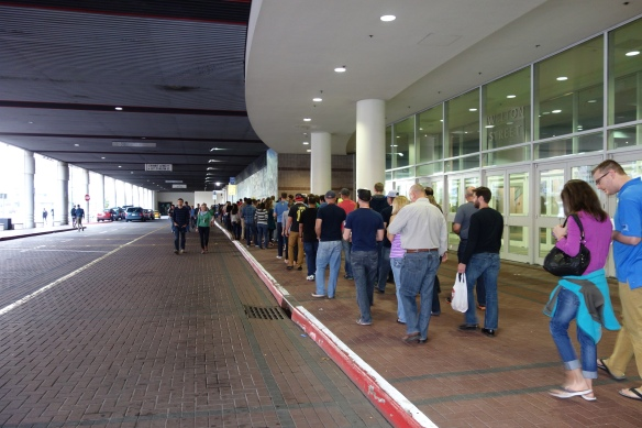 The line around the back of the convention center to get in